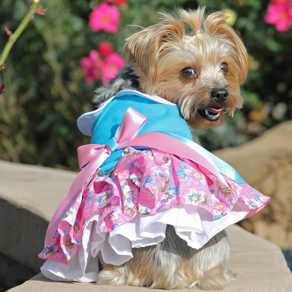 Pink and Blue Plumeria Dog Dress with Matching Leash