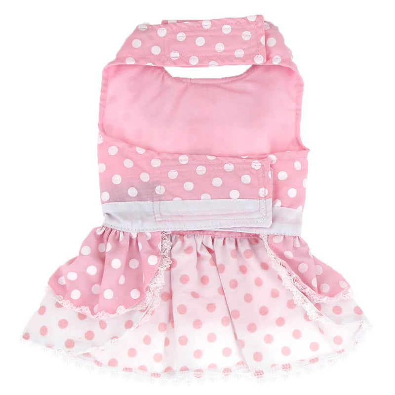 Pink Polka Dot and Lace Dog Dress with Matching Leash