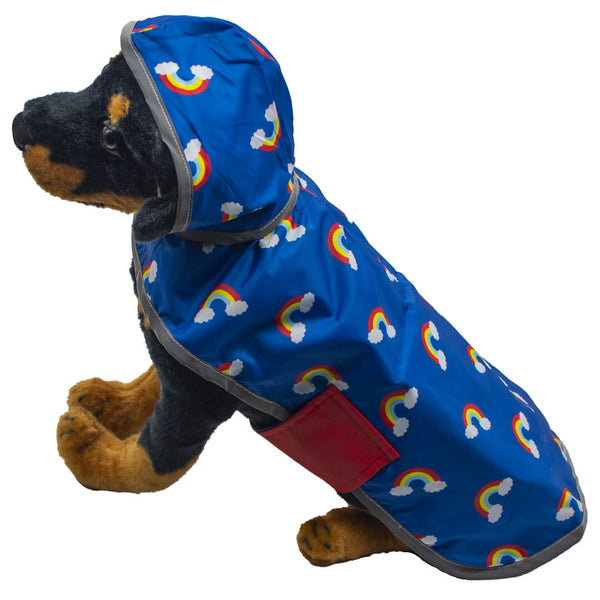 Red and Blue Rainbow Reversible Pocket Dog Raincoat