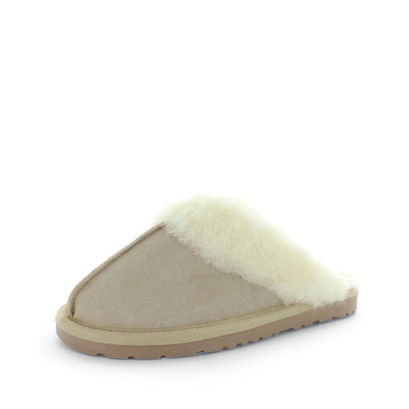 Just Bee UGGs- cita- womens little slip-on slipper style, 100% wool, leather shoe with detailed upper and over hanging wool on the trim - womens comfort slippers - womens best slippers- UGGs (4865771143247)