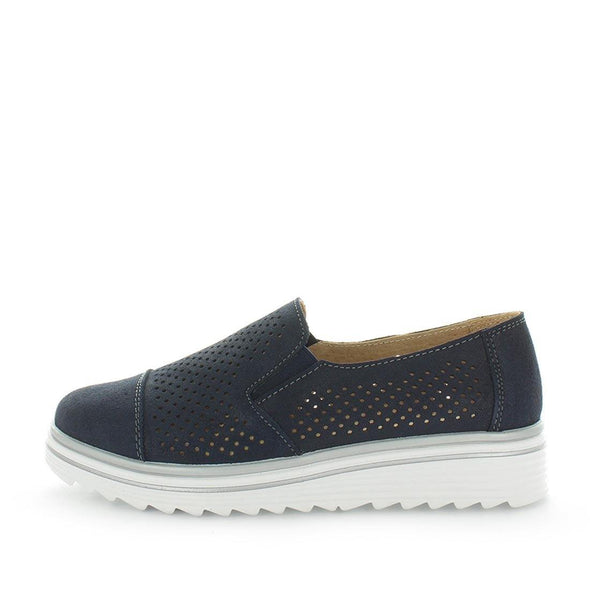 Just Bee comfort shoes - Crista by Just Bee - womens comfort shoes - flat slip-on style shoes with a laser cut upper and slight flatform wedge all wrapped in leather construction (6538287153231)