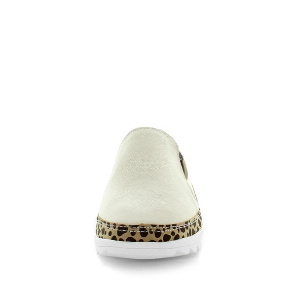Just Bee comfort shoes - Cubby by Just Bee - womens comfort shoes - flat slip-on style shoes with a leopard trim, zip zip and leather construction. (6537929130063)