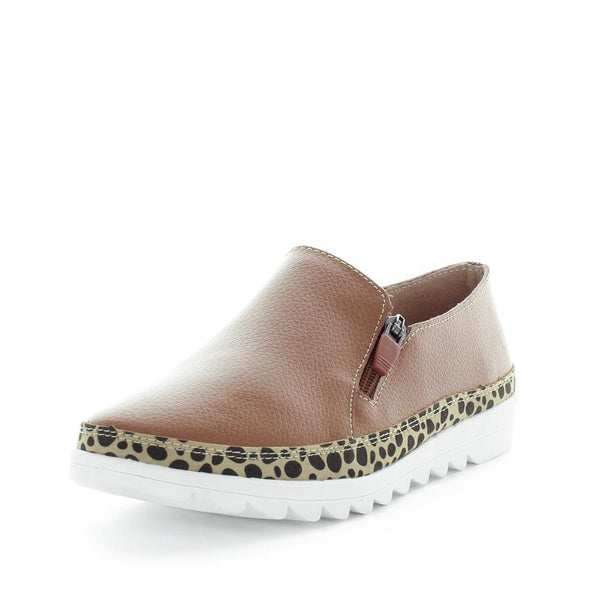 Just Bee comfort shoes - Cubby by Just Bee - womens comfort shoes - flat slip-on style shoes with a leopard trim, zip zip and leather contruction. (6537929130063)