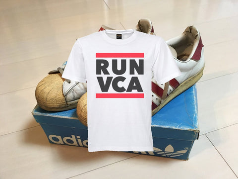 RUN VCA White Tee/Black-Red print