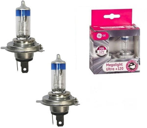 H4 Bulbs: Tungsram (GE) Megalight Ultra +120 H4 (Two Bulbs) - Best-in-Class®