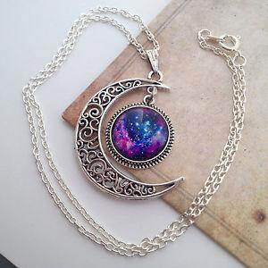 Galaxy Universe Crescent Moon Necklace - Excelsior