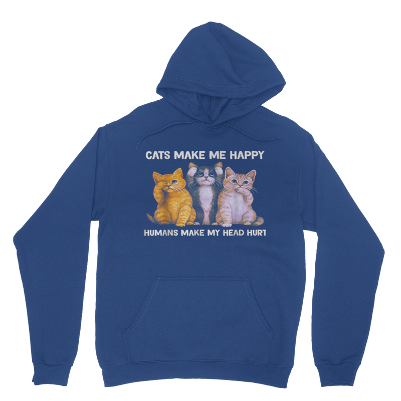 Cats make me happy humans make my head hurt Cat Lover Gift Classic Adult Hoodie