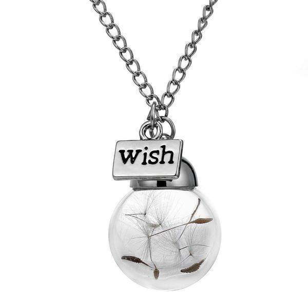 Real Dandelion Seeds Necklace - Make a Wish - Wolrdiscounts