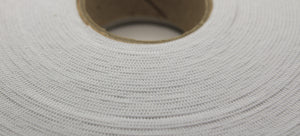 25mm White Elastic Knitted 50m