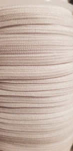 6mm White Braided Elastic 100m