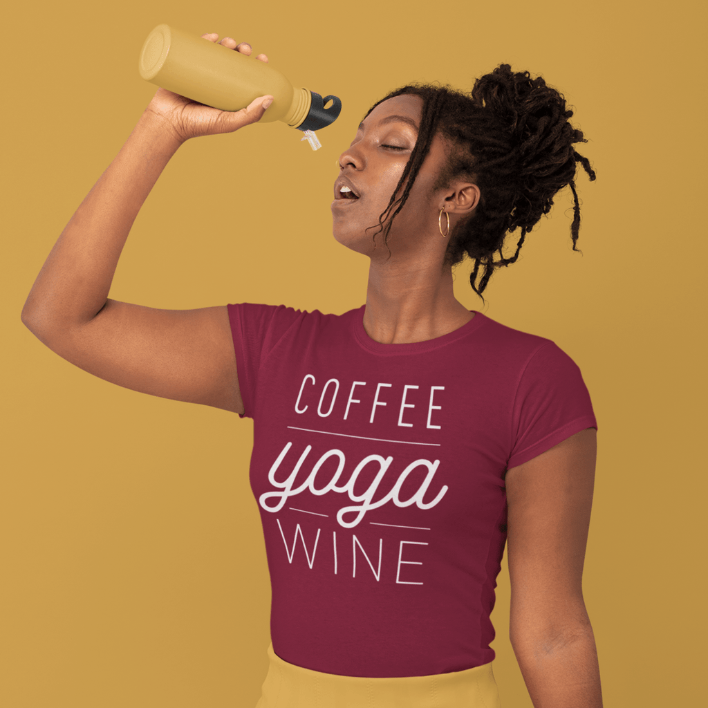 Coffee Yoga Wine T-shirt - YogaCentric.life