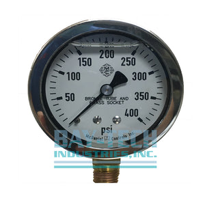 "0-400 PSI 2.5"" Glycerin Filled Pressure Gauge - 1/4"" MNPT Bottom Mount - J6H"