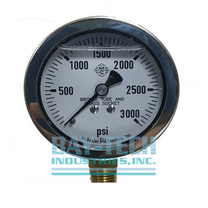 "0-3000 PSI 2.5"" Glycerin Filled Pressure Gauge - 1/4"" MNPT Bottom Mount - J6N"