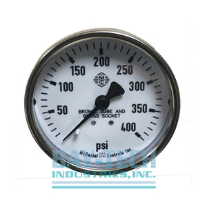 "0-400 PSI 2.5"" Dry Pressure Gauge - 1/4"" MNPT Center Back Mount - J7HL"