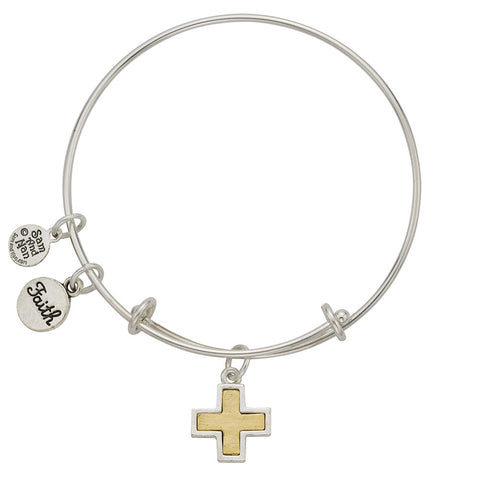 Silver Frame Two Tone Cross Faith Charm Bangle Bracelet - SamandNan