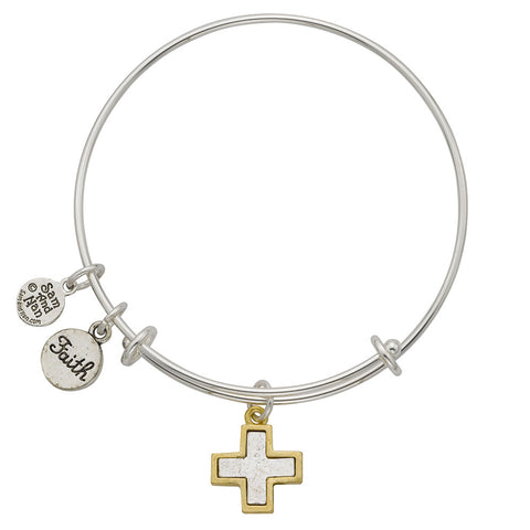 Gold Frame Two Tone Cross Faith Charm Bangle Bracelet - SamandNan
