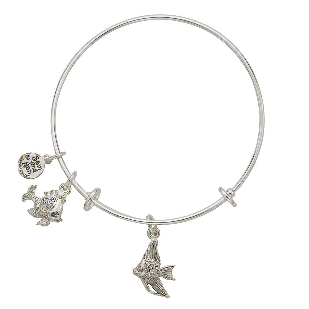 Angel Fish Charm Bangle Bracelet - SamandNan