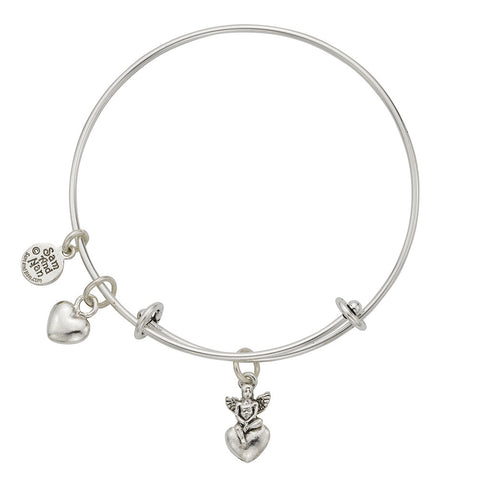 Heart Angel Charm Bangle Bracelet - SamandNan