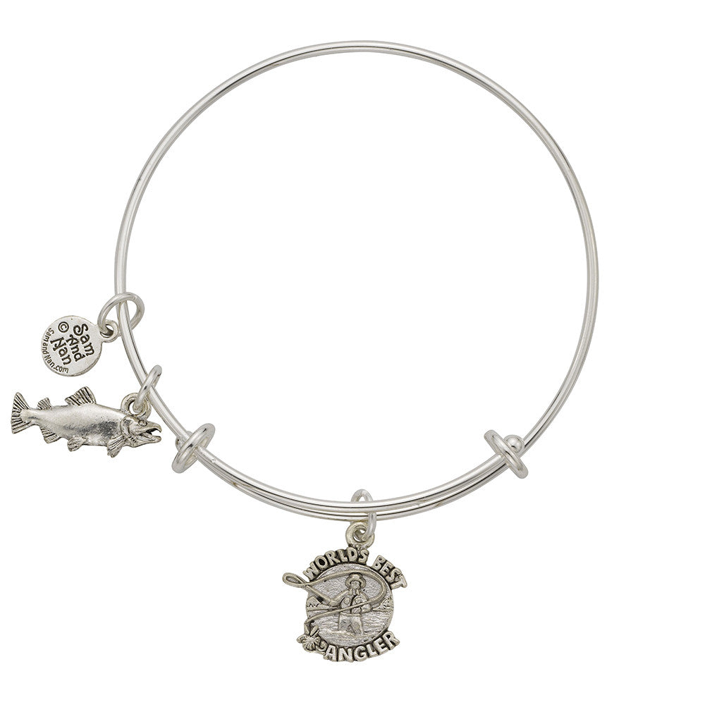 World's Best Angler Salmon Charm Bangle Bracelet - SamandNan