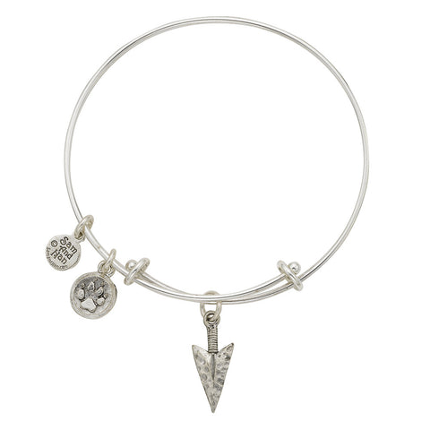 Arrow Head Wolf Paw Charm Bangle Bracelet - SamandNan
