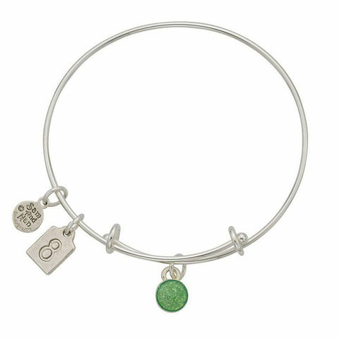 August Green Birthstone Charms Bangle Bracelet - SamandNan