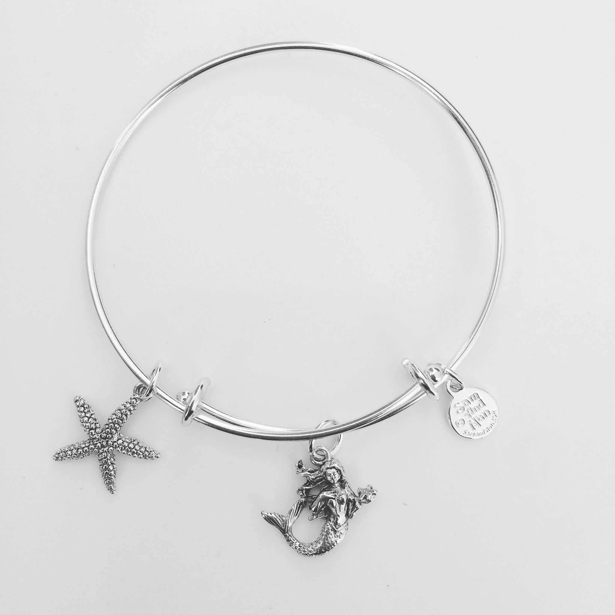 Mermaid Starfish Bangle Bracelet - SamandNan