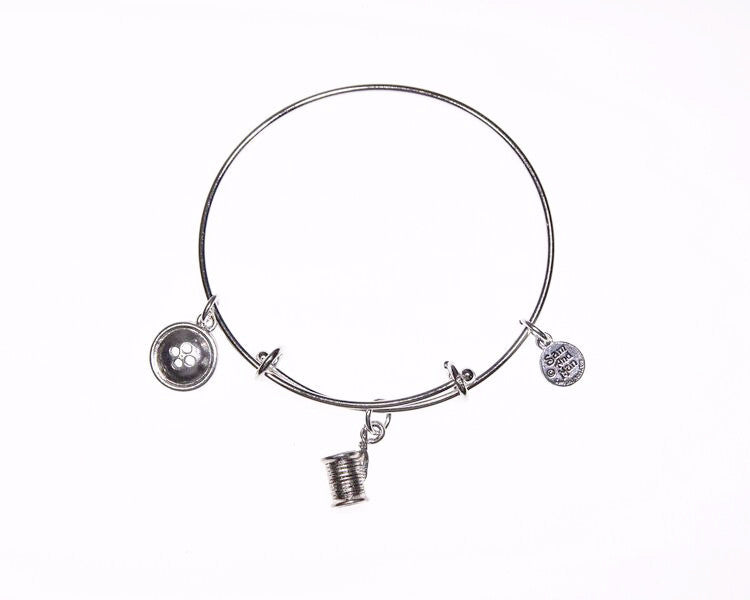 Spool and Button Silver Charm Bangle Bracelet