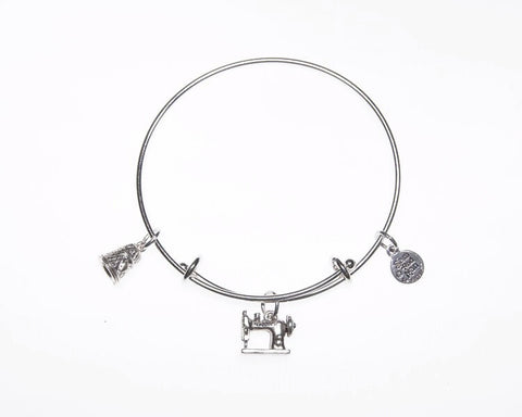 Sewing Machine Thimble Silver Charm Bangle Bracelet