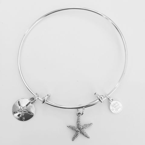 Starfish Sand Dollar Bangle Bracelet - SamandNan