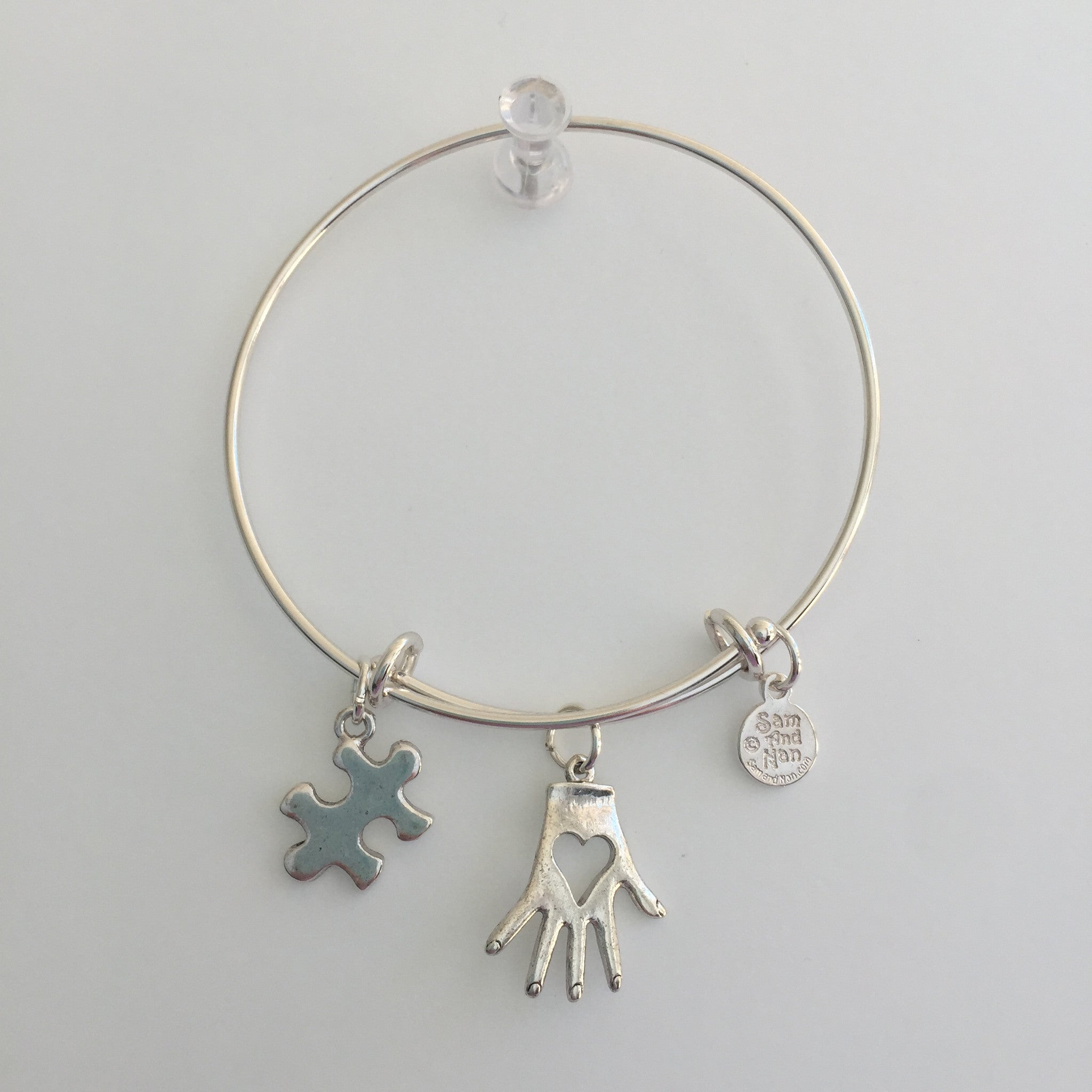Autism Heart and Hand Bangle Bracelet - SamandNan