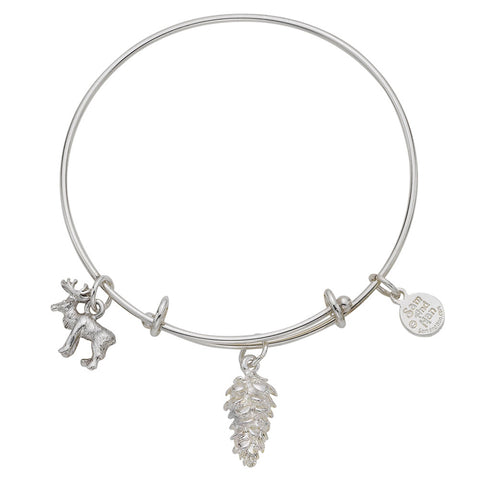Pinecone Moose Charm Bangle Bracelet - SamandNan