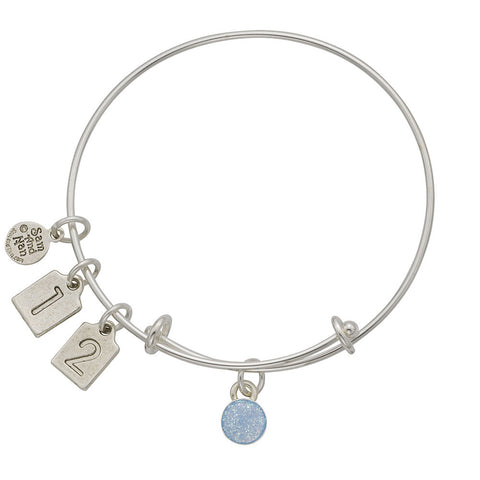 Light Blue December Birthstone Charms Bangle Bracelet - SamandNan