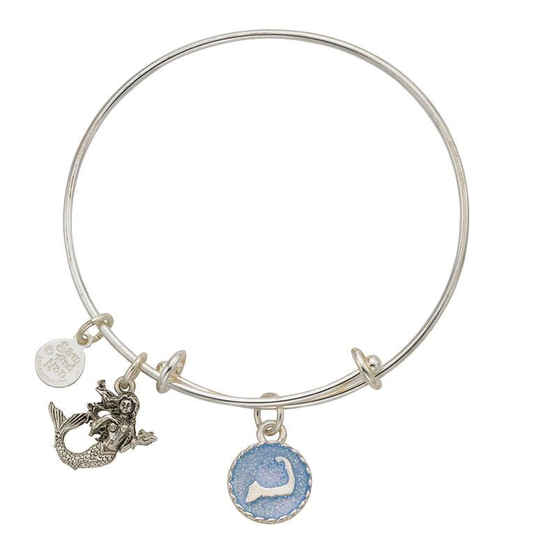 Cape Cod Mermaid Charm Bangle Bracelet - SamandNan