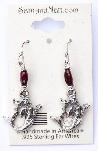 Mermaid Charm Garnet Earrings - SamandNan