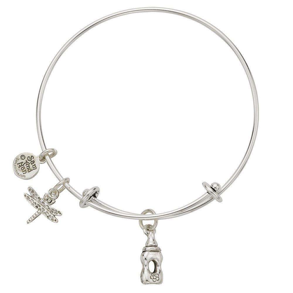 Baby Bottle Dragon Fly Charm Bangle Bracelet - SamandNan