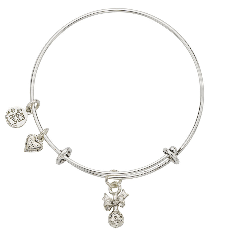 Baby Rattle Zig Zag Heart Charm Bangle Bracelet - SamandNan