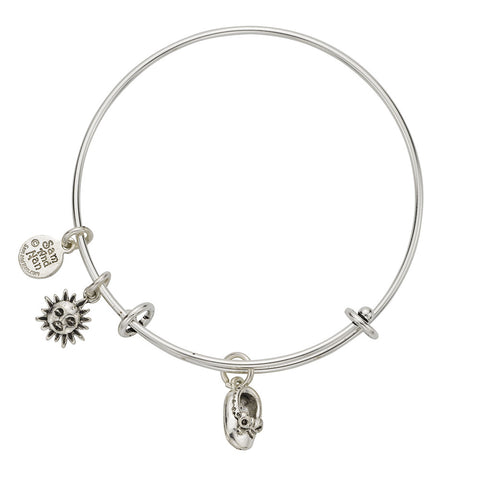 Baby Shoe Sun Charm Bangle Bracelet - SamandNan