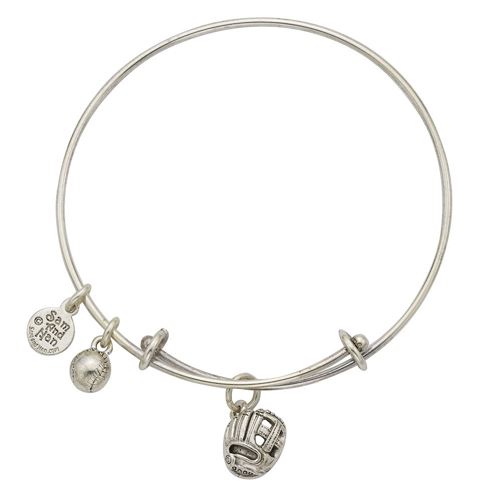 Baseball Glove Charm Bangle Bracelet - SamandNan
