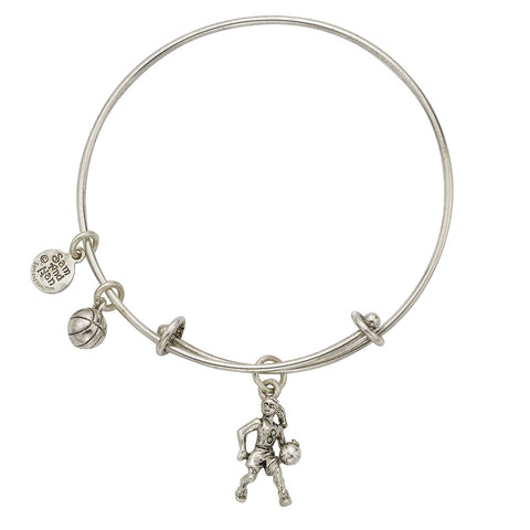 Basketball Player Charm Bangle Bracelet - SamandNan
