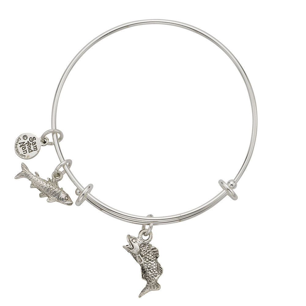 Bass Trout Charm Bangle Bracelet - SamandNan
