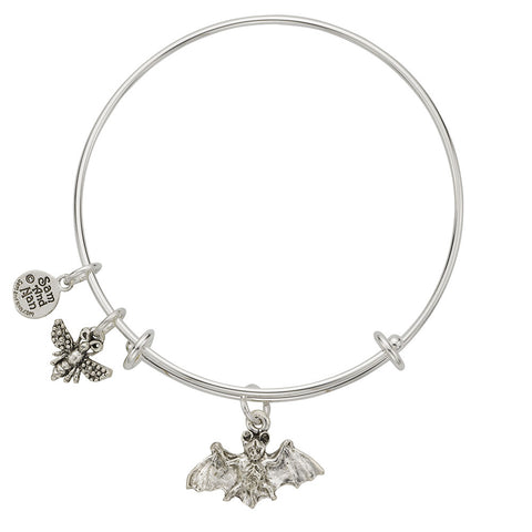 Flying Bat Charm Bangle Bracelet - SamandNan