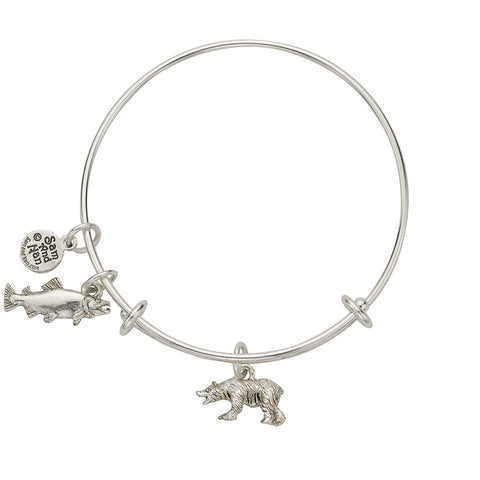 Bear Salmon Charm Bangle Bracelet - SamandNan