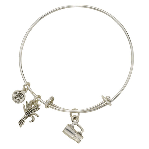 Beer Stein Wheat Charm Bangle Bracelet - SamandNan