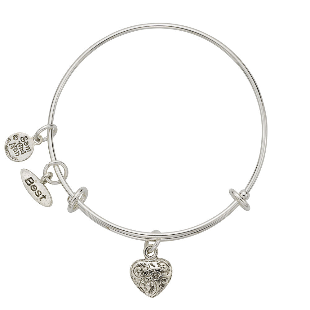 Best Friend Heart Charm Bangle Bracelet - SamandNan