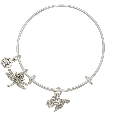 Betta Fish Dragonfly Charm Bangle Bracelet - SamandNan