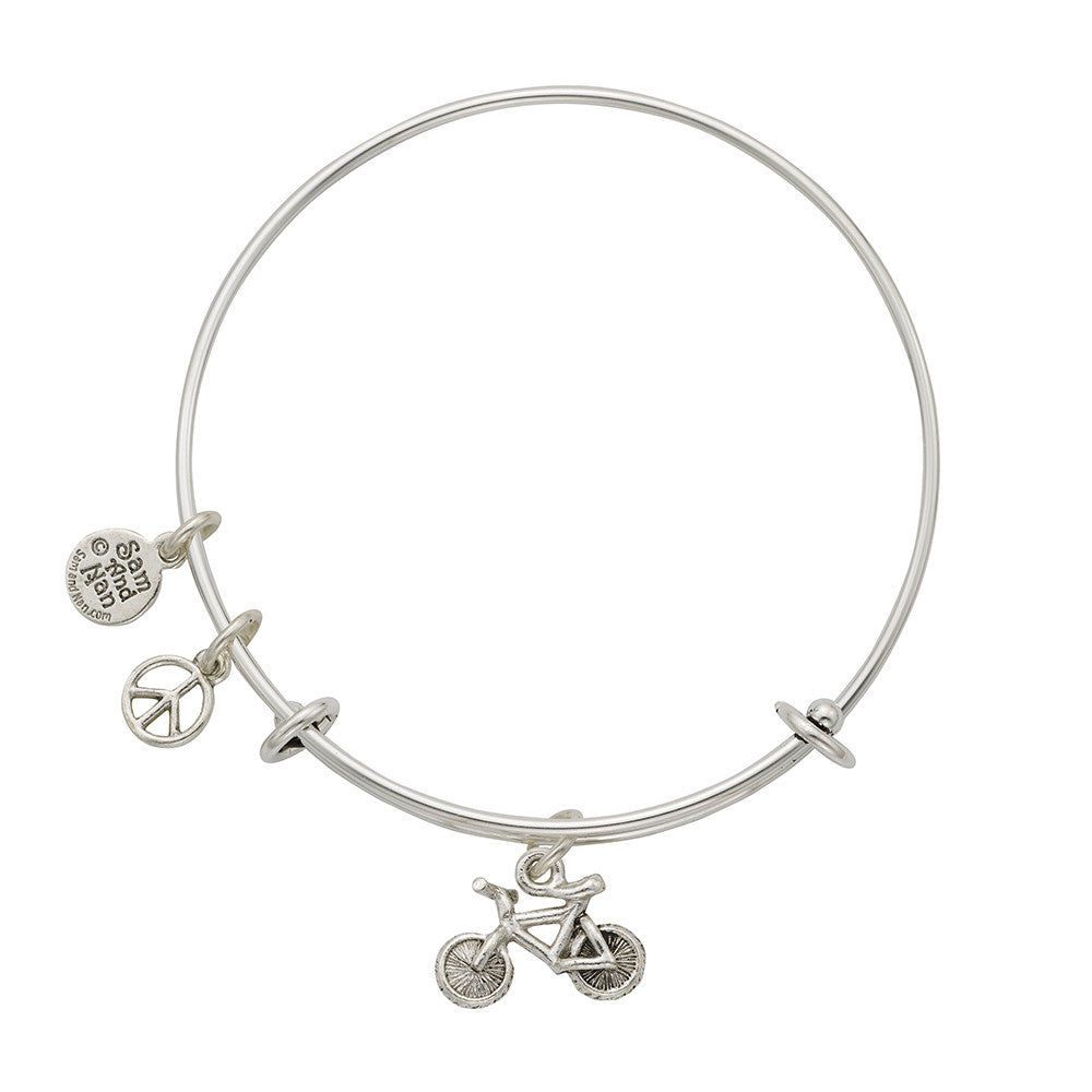 Bicycle Peace Charm Bangle Bracelet - SamandNan