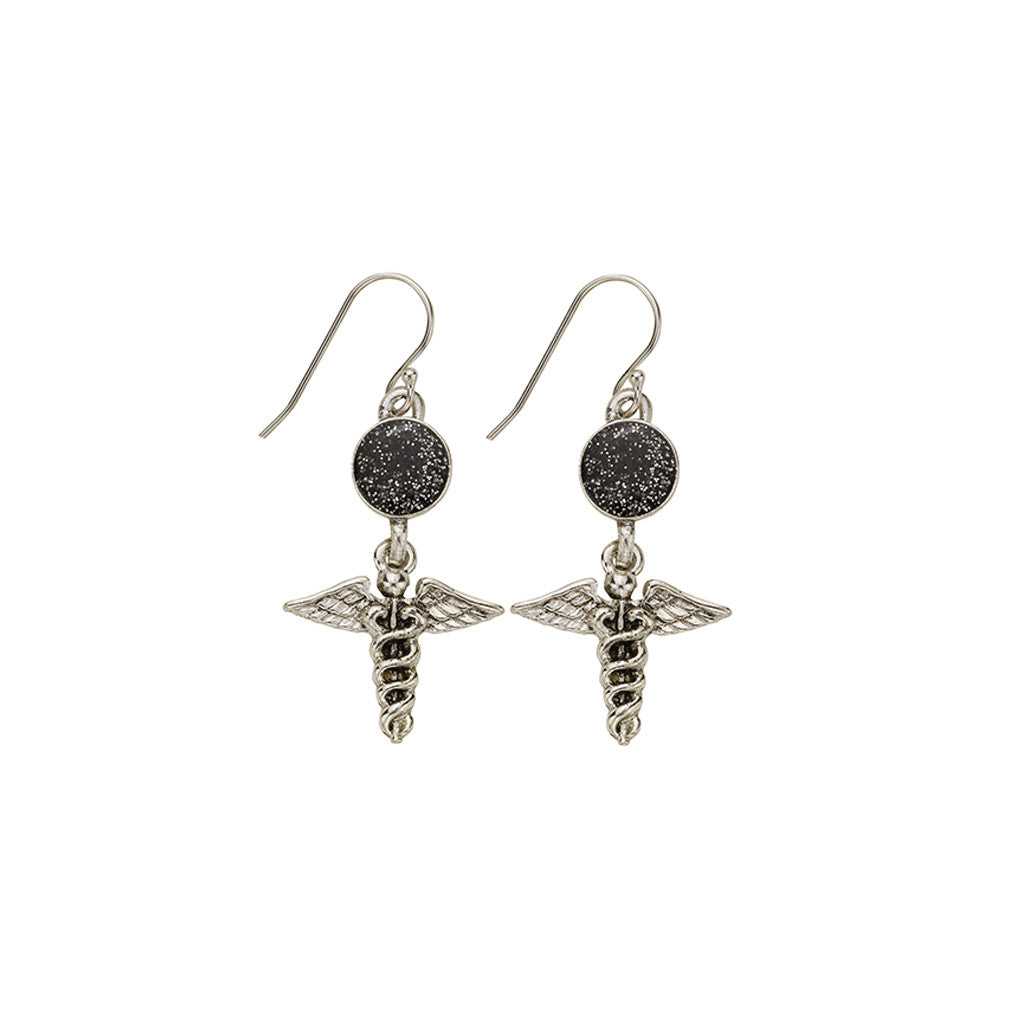 Black Glitter Caduceus Medical Symbol Earrings - SamandNan