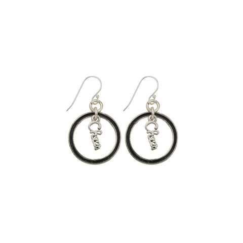 Black Glitter Cheer Hoop Earring - SamandNan