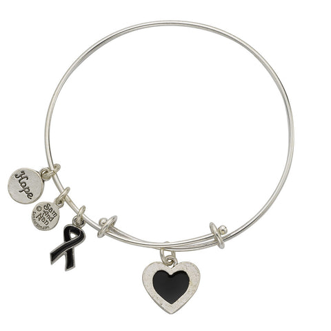 Melanoma Cancer Bangle Bracelet Black - SamandNan