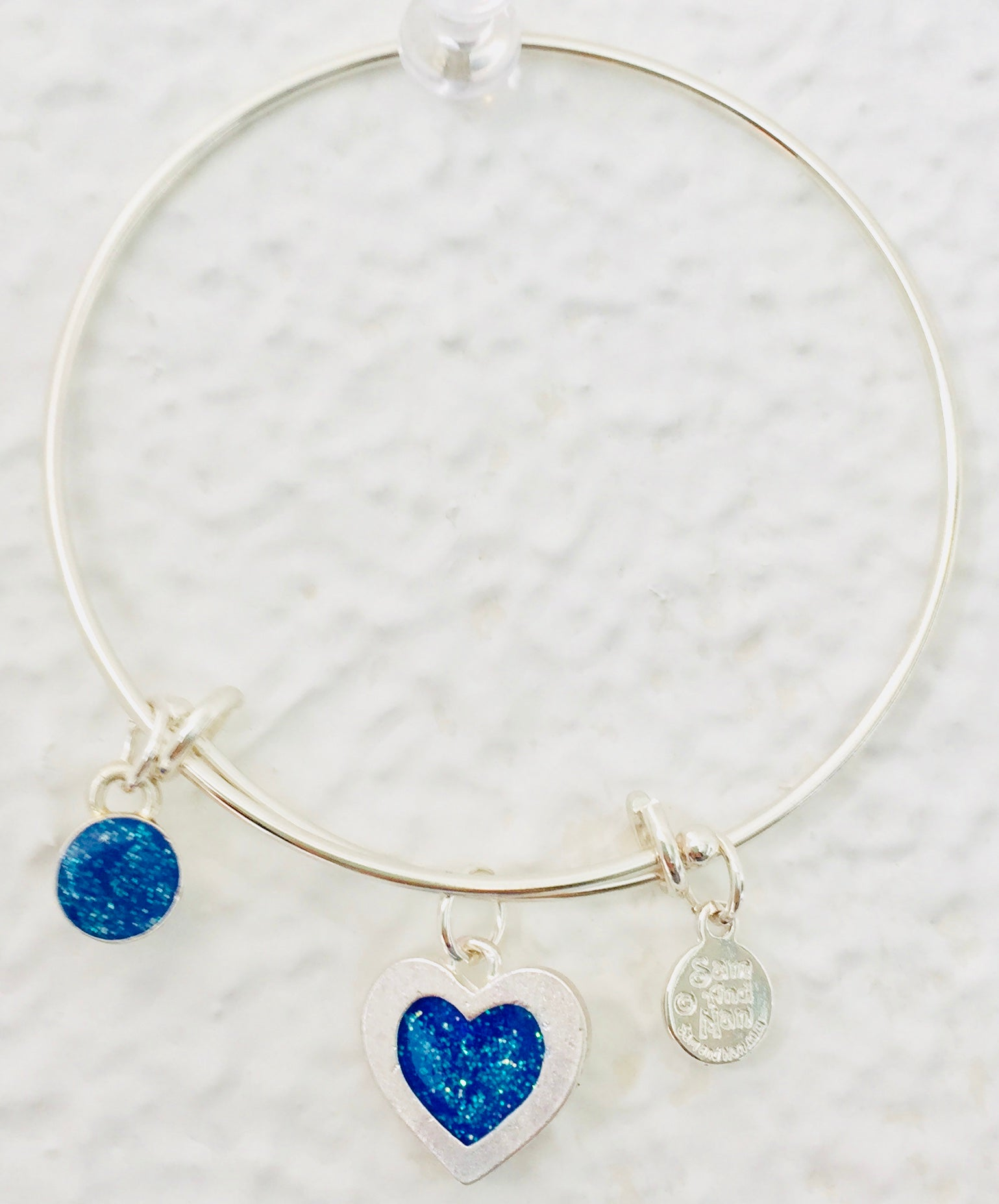 Valentine Blue Heart Bangle Bracelet